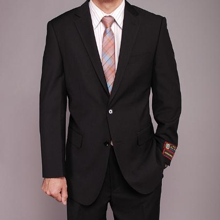 Mens Black patterned 2-button Suit