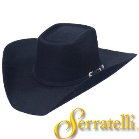 Tejana Serratelli Black Western Felt Cowboy Hat