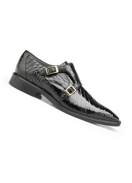 Men's Black Genuine World Best Alligator ~ Gator Skin Leather Lining Double Buckle Shoes