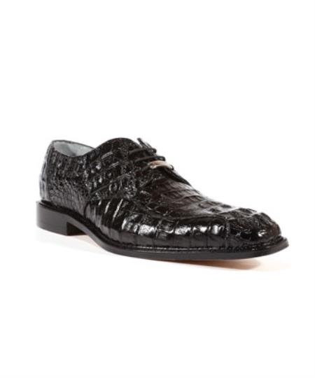 Mens Chapo Caiman World Best Alligator ~ Gator Skin Black Oxford Belvedere Shoes