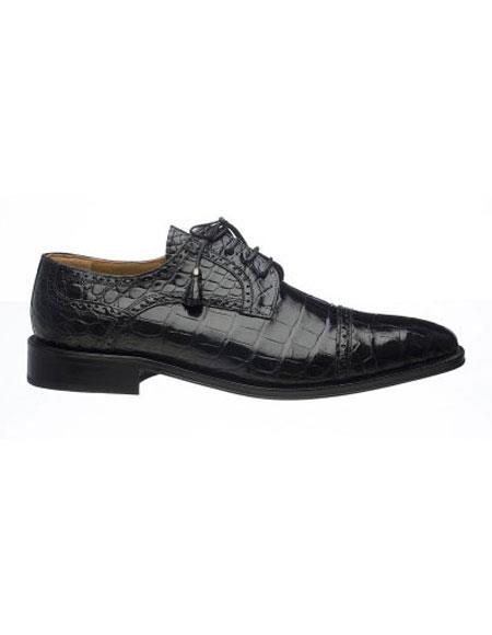 Ferrini Mens Black World Best Alligator ~ Gator Skin Skin Dress Shoes