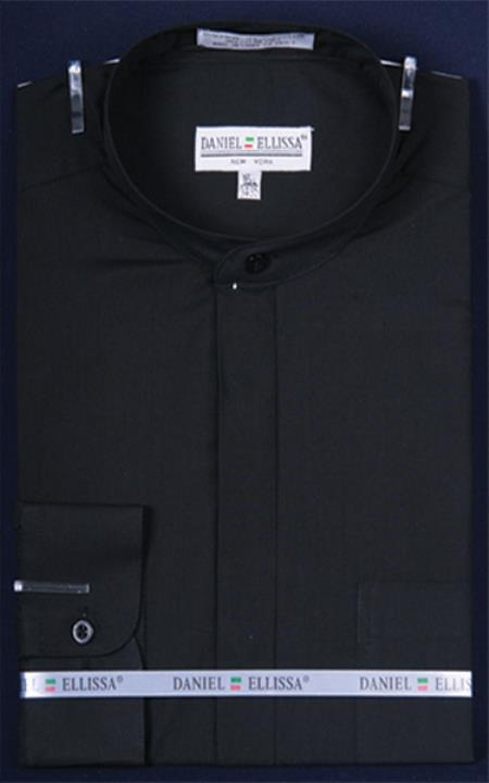 Mens Banded Collar dress shirts without collars Preacher Round Style Mandarin Collarless Black
