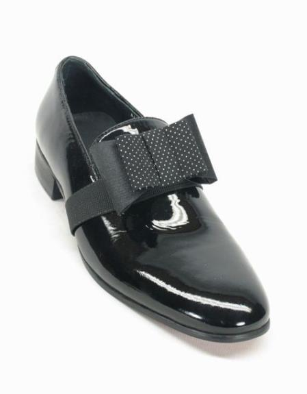 Mens Fashionable Carrucci Black Patent Bow Lace Up Style Black Dress Shoe - Mens Shiny Shoe