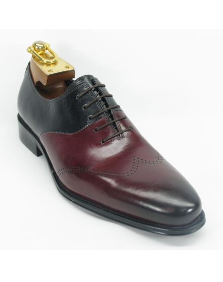 Mens Two Toned Black / Maroon Dress Shoe ~ Burgundy Dress Shoe ~ Wine Color Dress Shoe Leather Fashionable Carrucci Lace Up Style Shoes
