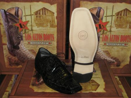 Mens Genuine Authentic Black caiman ~ alligator Crocodile ~ Alligator Dress Shoe