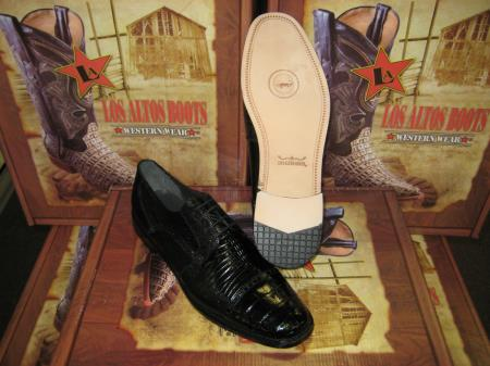 Mens Genuine Authentic Black caiman ~ alligator Belly & Teju Lizard Dress Shoe