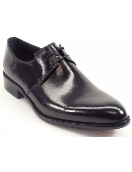 Carrucci Black Genuine Calfskin Leather Cognac Lace Up Fashionable Oxford Black Dress Shoe