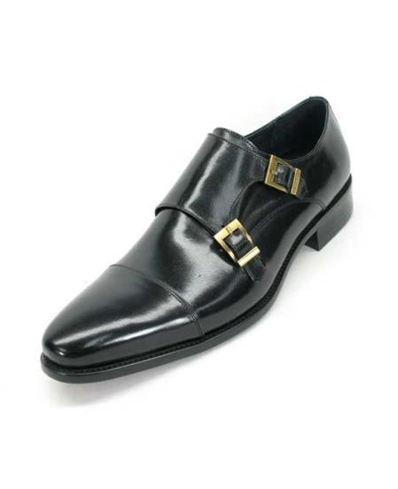 Mens Fashionable Carrucci Calfskin Double Buckles Slip On Style Stylish Dress Loafer Black