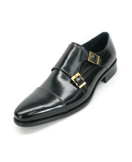 Men's Fashionable Carrucci Calfskin Double Buckles Slip On Style Stylish Dress Loafer Black