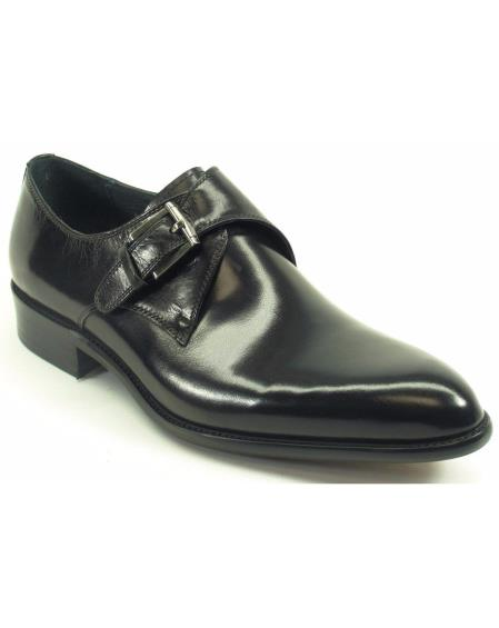 Carrucci Mens Black Genuine Calfskin Leather With Monk Strap Fashion Shoes