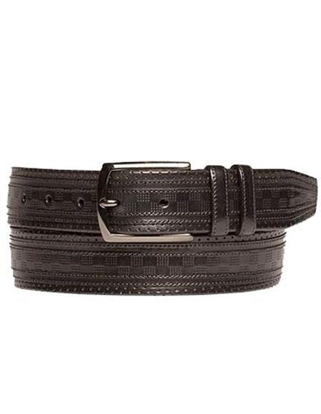 Mezlan Mens Black Genuine Calfskin Satin Nickel Buckle Belt