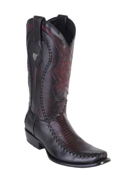 Men's Genuine Teju Lizard Deer Skin Dubai Toe Wild West Dress Cowboy Boot Cheap Priced For Sale Online Handmade Black Cherry