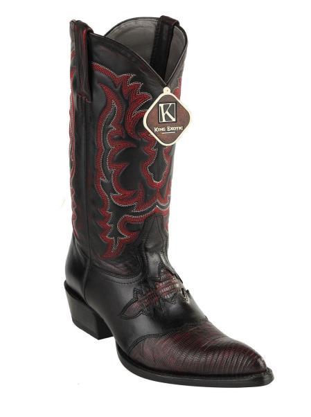 Buy SM3786 Men's King Exotic Los Altos Teju Lizard Saddle Vamp Boots Black Cherry