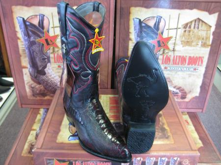 Los Altos Black Cherry Genuine Ostrich Leg Western Cowboy Boot (EE)
