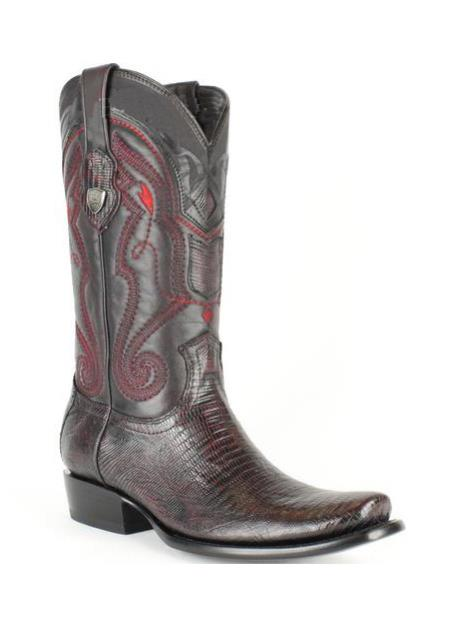 Mens Wild West Leather Dubai Square Toe Black Cherry Genuine Teju Lizard Dress Cowboy Boot Cheap Priced For Sale Online