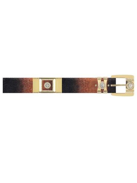Buy RV2S Los Altos Black Cognac Genuine Ostrich Leg Rhinestone / Plated Brackets Belt