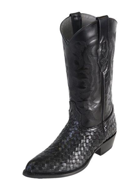 Men's J Toe Black Los Altos Boots  Genuine Basket Weave Teju Lizard Dress Cowboy Boot Cheap Priced For Sale Online Handcrafted