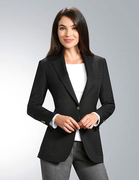 SKU#KH56 Women's Two Button 100% Polyester Single breasted Black Notch Lapel Blazer
