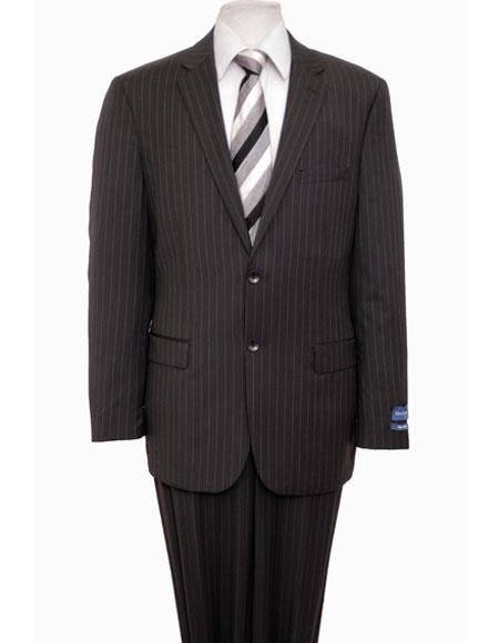 ZeGarie Mens Classic Single Breasted Notch Lapel Wool Pinstripe Black Suit Flat Front Pant