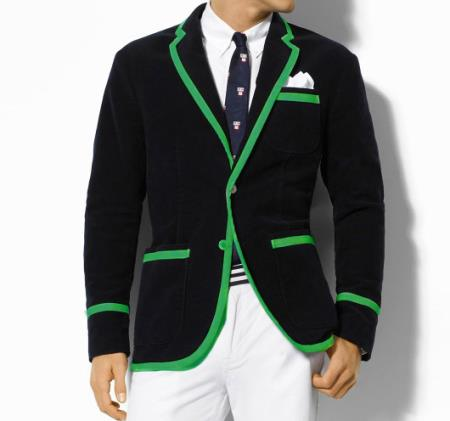 SKU#G8FS Classic Velvet Black Blazer with Green Trimming