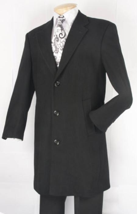 SKU#BN583 Mens Black Fully Lined Wool Blend Car Coat