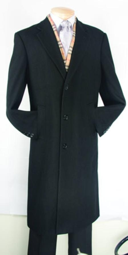 SKU#XV482 Men's Black Fully Lined Wool Blend Top Coat