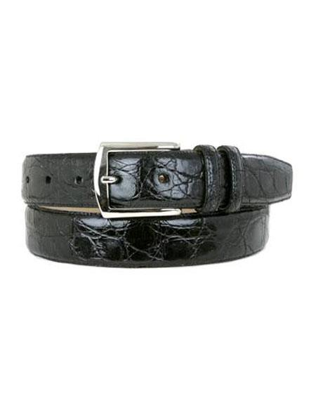 Mezlan Mens Black All-Over Genuine Crocodile Skin Belt