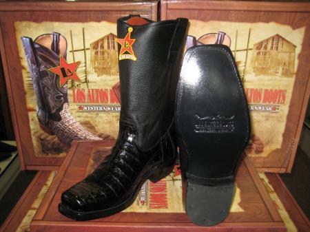Los Altos Black Crocodile ~ Alligator ~ Gator Skin Belly Western Cowboy Biker Motorcycle Boot