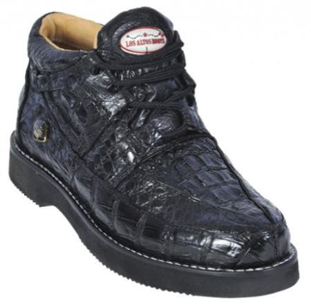 SKU#KA1281 Black Genuine All-Over Crocodile ~ Alligator Casual Shoes