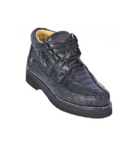 SKU#KA1350 Los Altos Black Genuine All-Over Crocodile ~ Alligator Belly Shoes