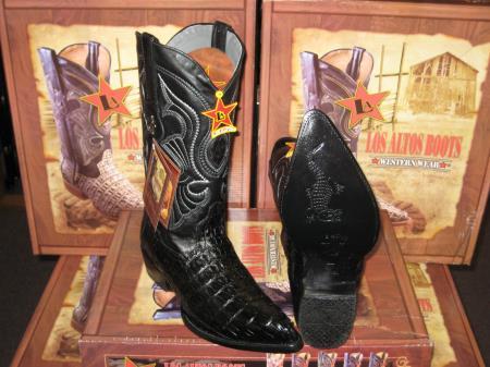 Los Altos Black Genuine Crocodile ~ World Best Alligator ~ Gator Skin Tail Western Cowboy Boot