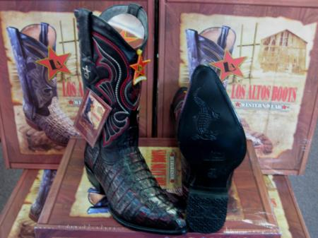 Los Altos Cherry Black Genuine Crocodile ~ World Best Alligator ~ Gator Skin Tail Western Cowboy Boot
