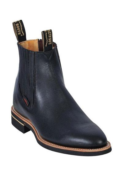 SKU#GD217 Los Altos Charro Botin Short Ankle Deer Black Leather Boots For Men