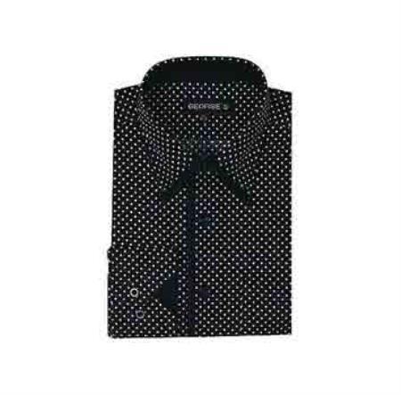 Classic Fit Mini Polka Dot Design Black Mens Dress Shirt