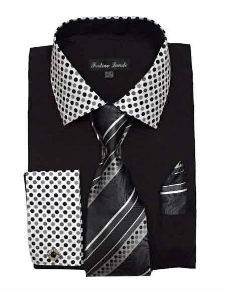 Black Fashionable Solid/Polka Dot Pattern Shirt With Tie & Hanky French Cuff Men's Dress Shirt