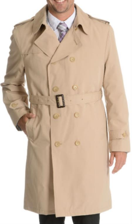 Classic Double Breasted Trench Coat Black Peacoat style raincoat Belted