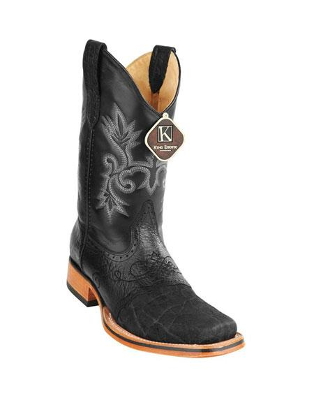 Mens King Exotic Cowboy Style By los altos botas For Sale Square Toe Genuine Elephant Skin Black Boots Handcrafted