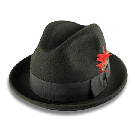 Buy M-2819 New Men's 100% Wool Fedora Trilby Mobster Hat Black
