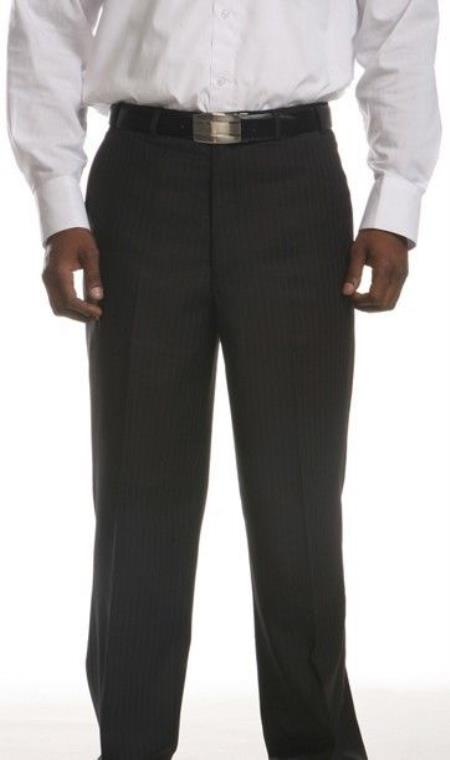 Mens Lightly Striped Flat-Front Dress Pants Black