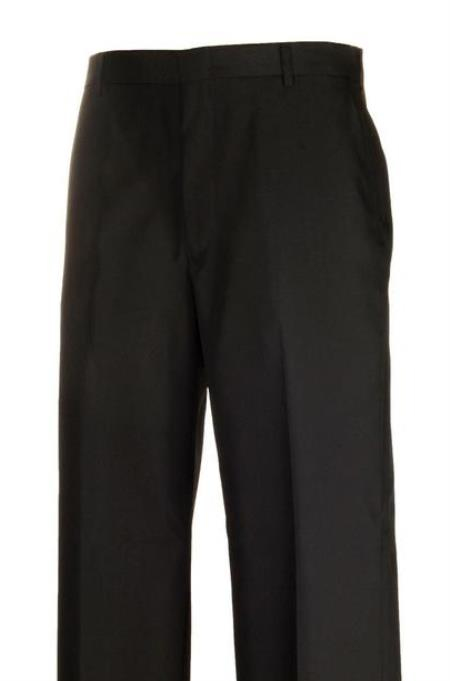 American USA Made Black Separate Flat Front Dress Pants unhemmed unfinished bottom