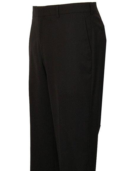 Mens Black Stylish Flat Front Atticus Classic Fit Wool Pant unhemmed unfinished bottom