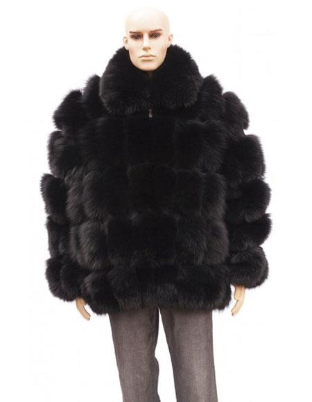 SKU#GD731 Mens Fur Black Full Skin Fox Collar Genuine Mink Jacket