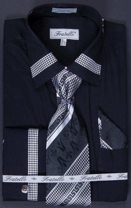 French Cuff Tie, Hanky and Cuff Links - Patched Black Men's Dress Shirt