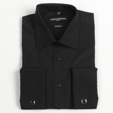 Black French Cuff Big & Tall Shirt 18 19 20 21 22 Inch Neck Men's Dress Shirt