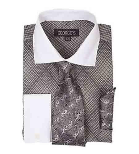 Mini Plaid/Checks French Cuff Black With Tie And Handkerchief White Collar Two Toned Contrast Men's Dress Shirt