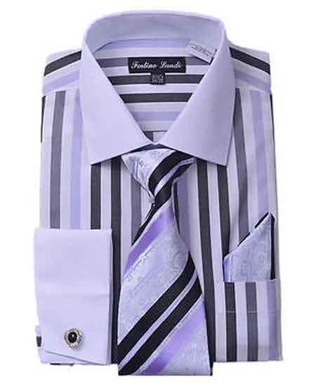 Buy SM1290 Men's Classic Fit French Cuff Striped Black Dress Shirt Matching Tie Hanky White Collar Two Toned Contrast