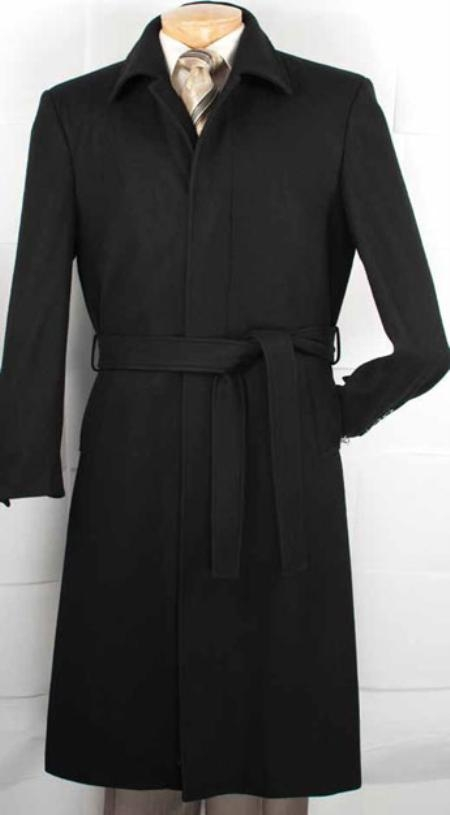 SKU#ME9291 Mens Wool Blended Belted Overcoat Top Coat Black 51 Inch Long Maxi Length