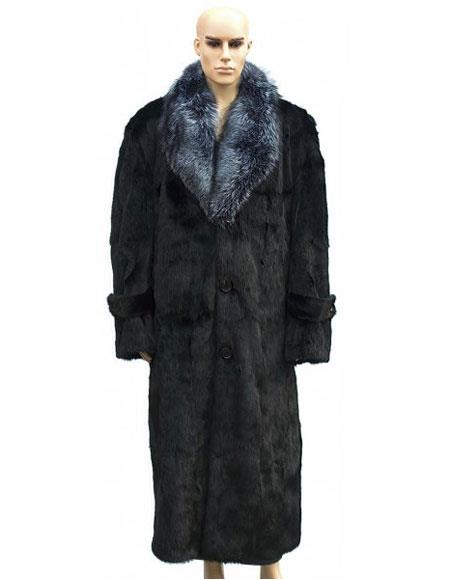 SKU#GD732 Mens Fur Black Full Length Coat Silver Fox Collar Jacket