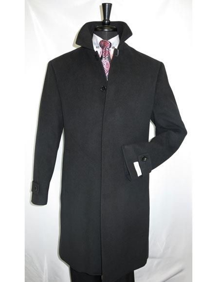 Mens Dress Coat Black Full Length Dress Top Coat /   Overcoat