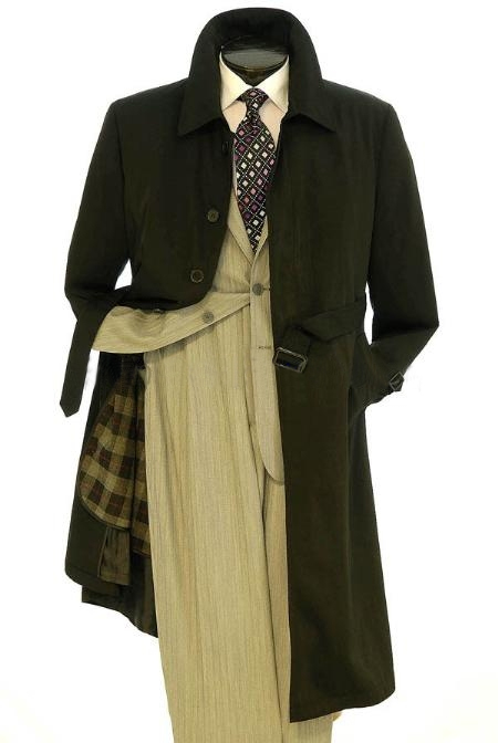 All Weather Mens Dress Coat Belted Rain Coat ~ Long full Maxi length Trench Coat Black Long Style